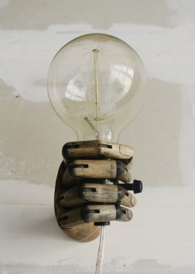 Bulb in the wood hand