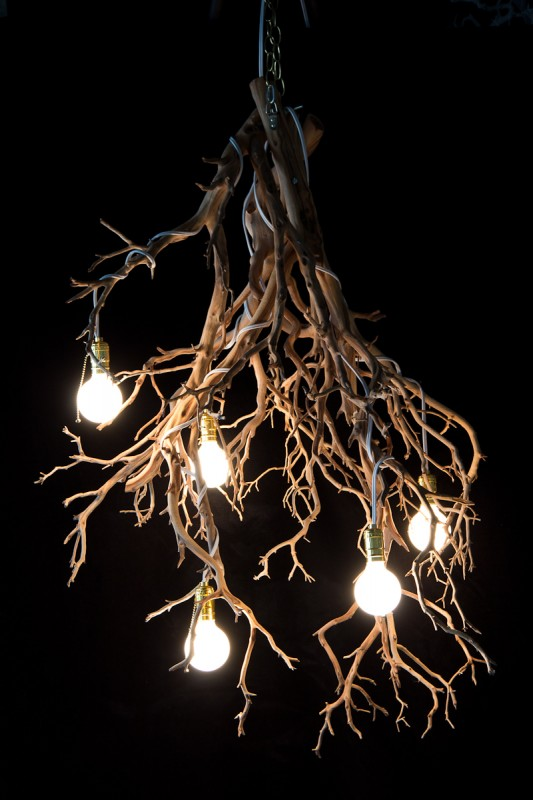 Halloween Wood Tree Branch Chandelier - wood-lamps, restaurant-bar, chandeliers