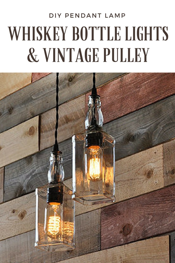 Whiskey Bottle Lights With Vintage Pulley Id Lights