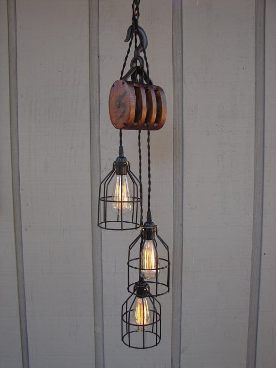 Vintage Farmhouse Pulley Light Pendant Lighting Wood Lamps