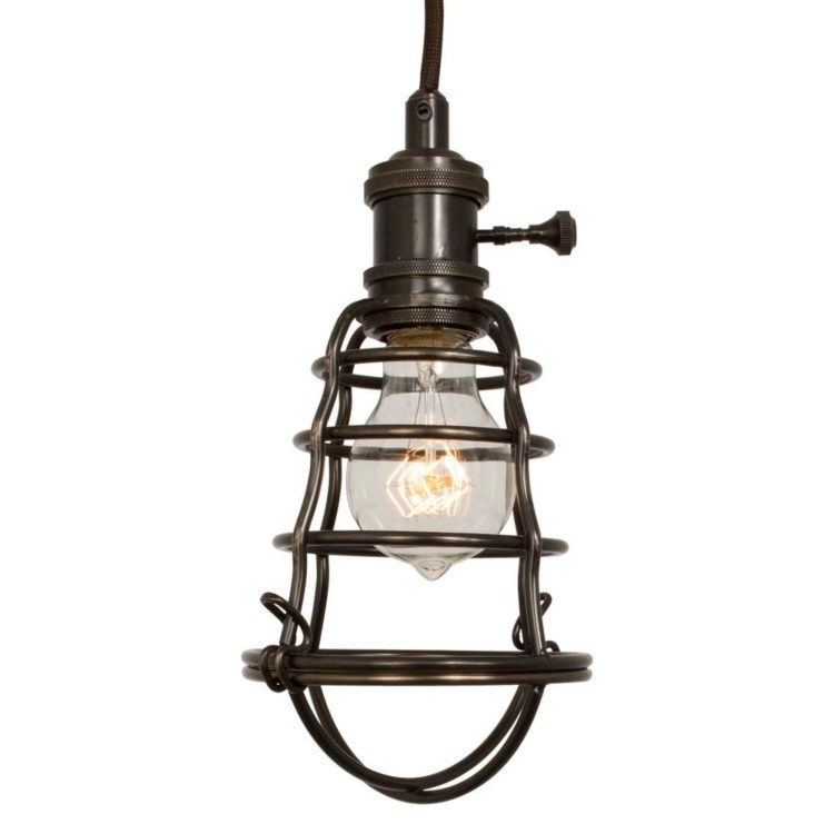 Aged Bronze Cage Lights Pendant Lighting Wood Lamps