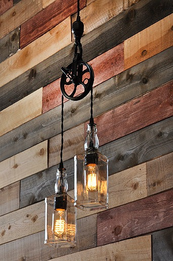 Whiskey Bottle Lights with Vintage Pulley - pendant-lighting