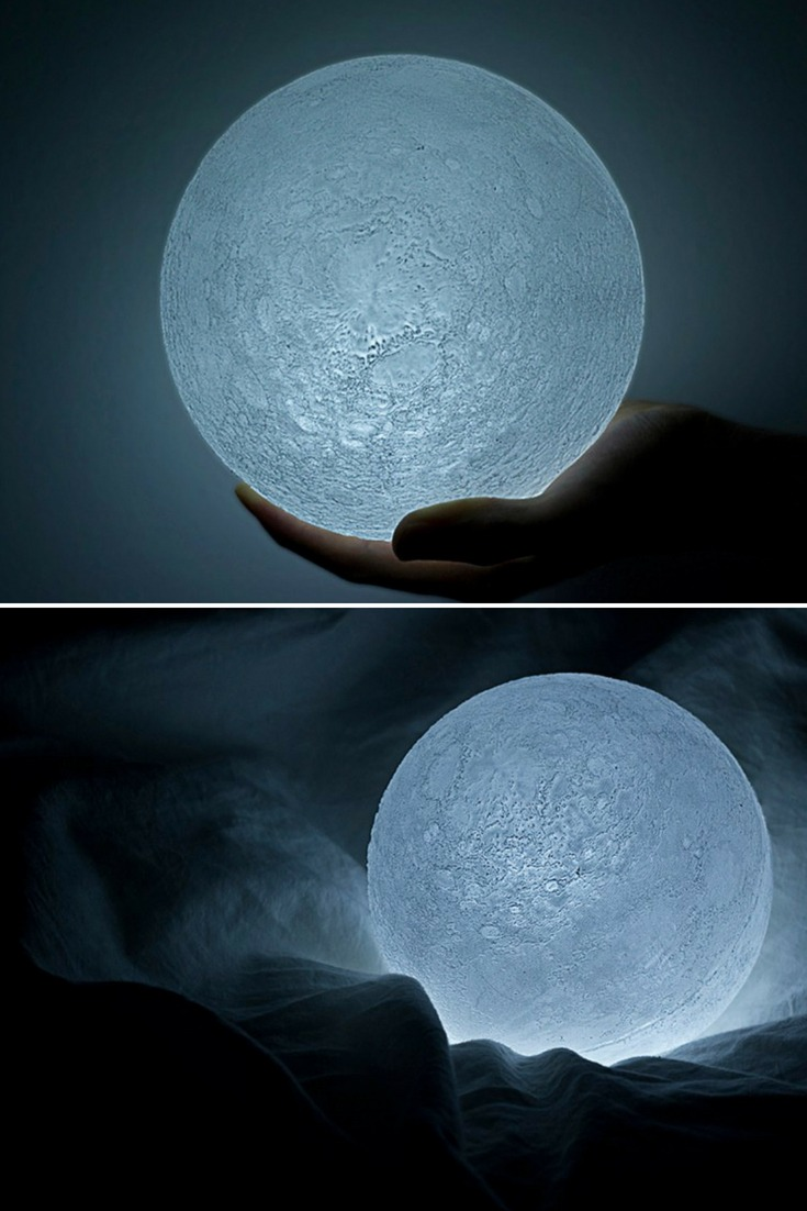 The so called Supermoon – the lunar occurrence on March 19th, 2011 in which the moon appeared 14% bigger and 30% brighter – shined down on the people of Japan, inspiring them to believe, and have hope for, rebuilding what they had lost just over a week ago. The Moon is a topographically-accurate LED light that was created based on data retrieved from the Japanese lunar orbiter spacecraft Kaguya. #bedside #concept #desklamp #lamp #led #lighting #lightingdesign #modernlighting