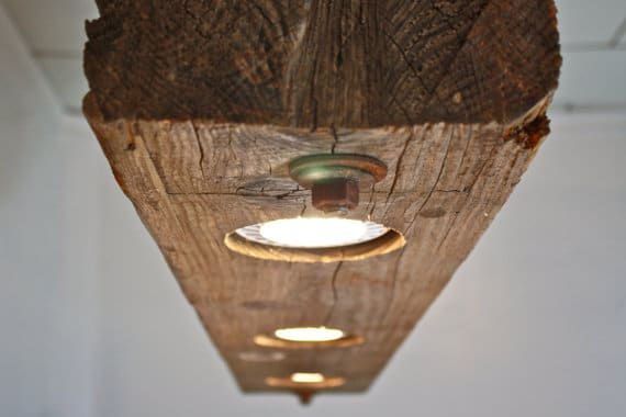 Massive rustic wooden beam chandelier id lights