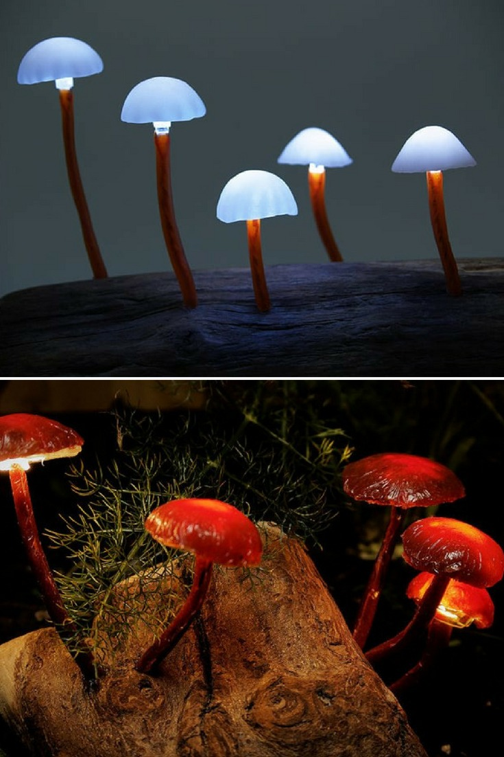 DIY Mushroom Lights with Forest Wood: The Japanese artist Yukio Takano is obsessive about the mushroom lights. Member of the group The Great Mushrooming, who worships anything that looks in any way by a fungus, he imagined lamps inspired aesthetics of mushrooms and other Fungus. Delivered directly with its small trunk wood, the Mushroom LED Light is available in all color. #diylighting #handmadelighting #lamp #led #lighting #lightingdesign #recycle #steampunk #tutorial #woodlamp #woodworking