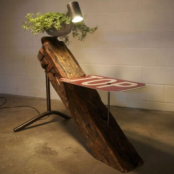 Recycled Wood Beam Table and Lamp Floor Lamps Wood Lamps