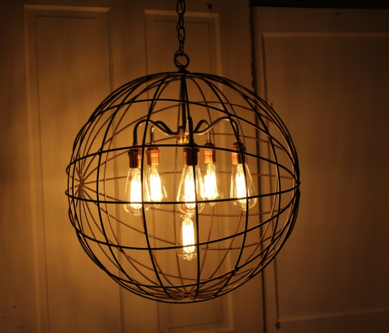 Orb chandelier industrial sphere id lights orb chandelier industrial sphere pendant lighting aloadofball Image collections