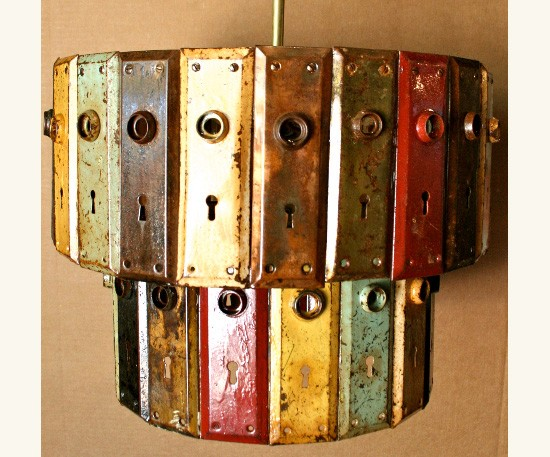 Antique Key Plate Pendant Chandelier - restaurant-bar, pendant-lighting