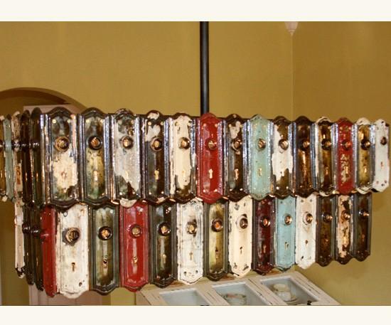 Antique Key Plate Pendant Chandelier - restaurant-bar, pendant-lighting