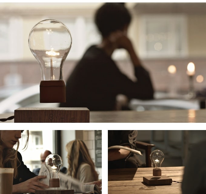 Flyte: Levitating Light Bedroom Oak Table Lamp - wood-lamps, table-lamps
