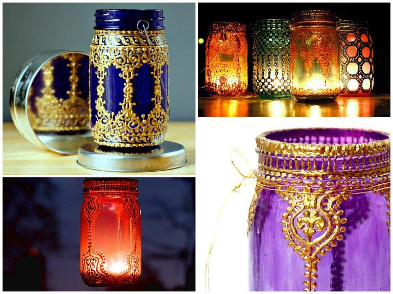 Mason Jar Recycled Lanterns - pendant-lighting