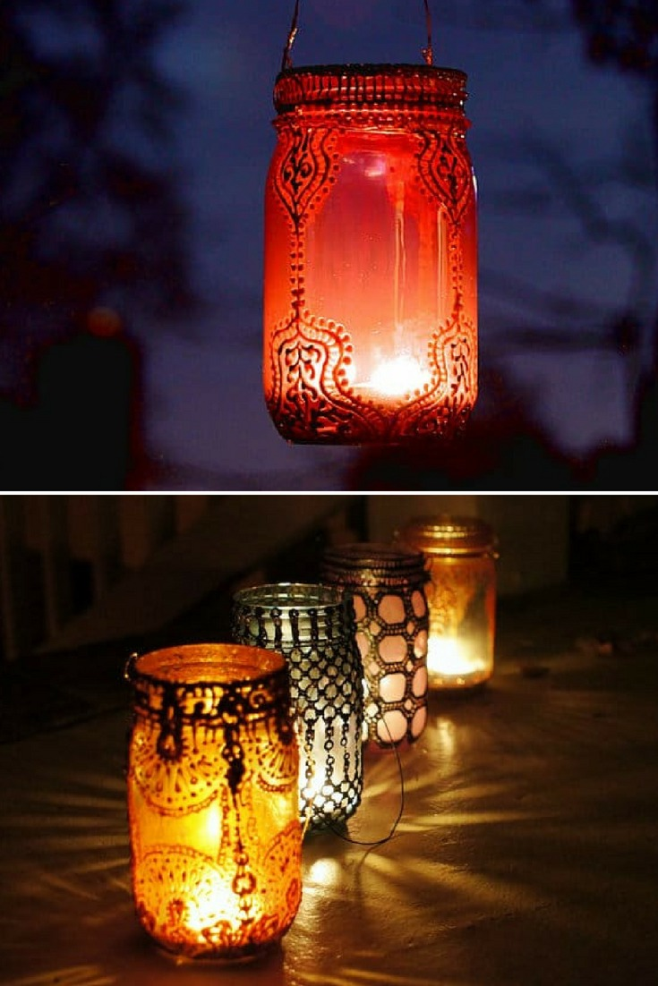 These unique lanterns take the mason jar to a whole new level! Perfect for adding home crafted elegance to any event, from a lavish wedding to an evening dinner on your own patio. These lanterns can withstand outdoor conditions- stands up great to wind and rain. A collection of these strung up on a warm spring night could be a wonderful alternative to the usual paper lanterns. #candles #diylighting #glasslamp #handmadelighting #lamp #lantern #lighting #lightingdesign #masonjars #outdoorlighting