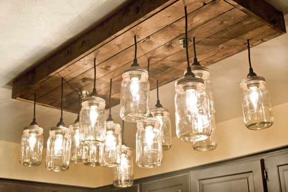 Mason Jar Wood Pallet Chandelier - wood-lamps, restaurant-bar, flush-mount-lighting