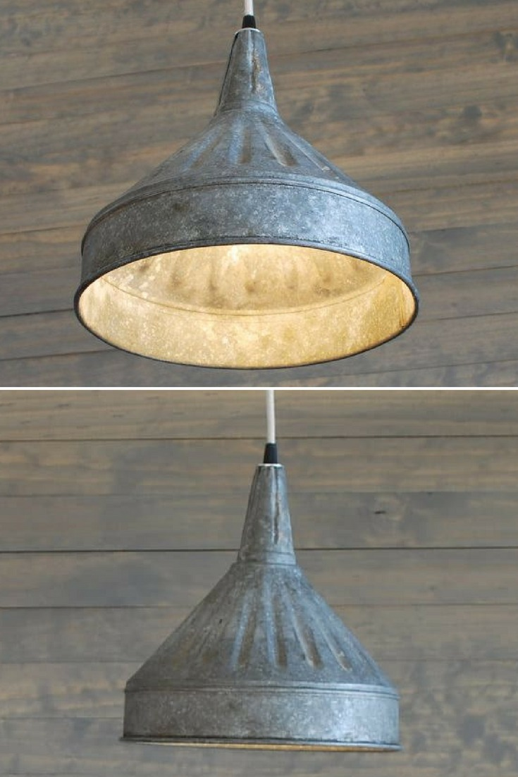 Modern Farmhouse Lighting With Galvanized Pendant Funnel