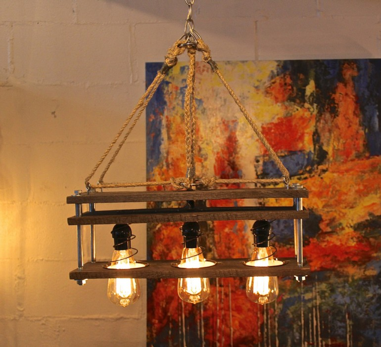 Pallet Wood 3 Bulb Rustic Vintage Lamp - wood-lamps, chandeliers