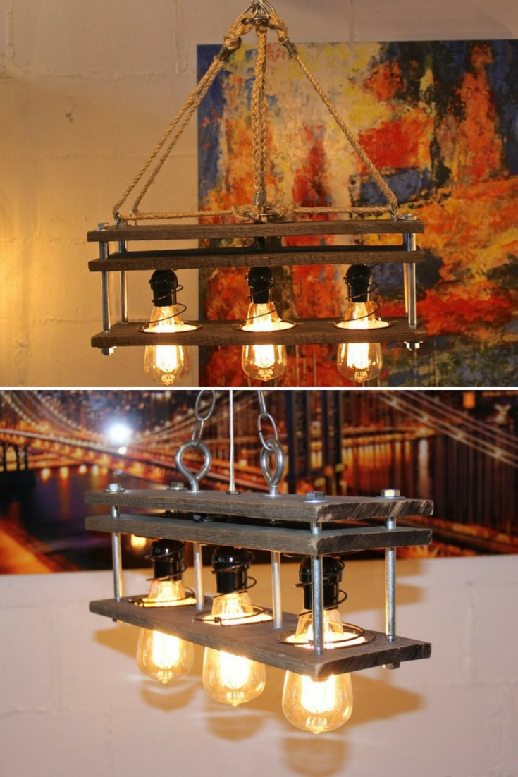 Pallet Wood 3 Bulb Rustic Vintage Lamp
