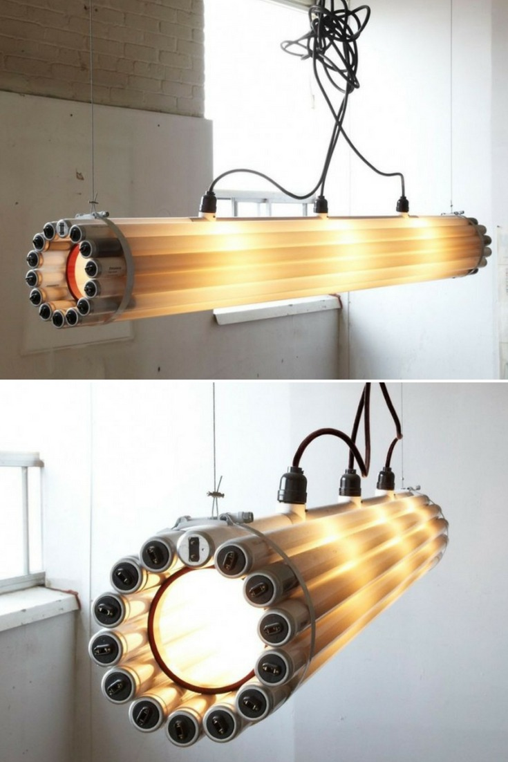 Recycled Tube Light Pendant Lighting