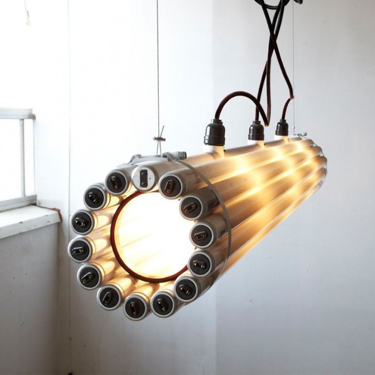 Recycled Tube Light Pendant Lighting - pendant-lighting