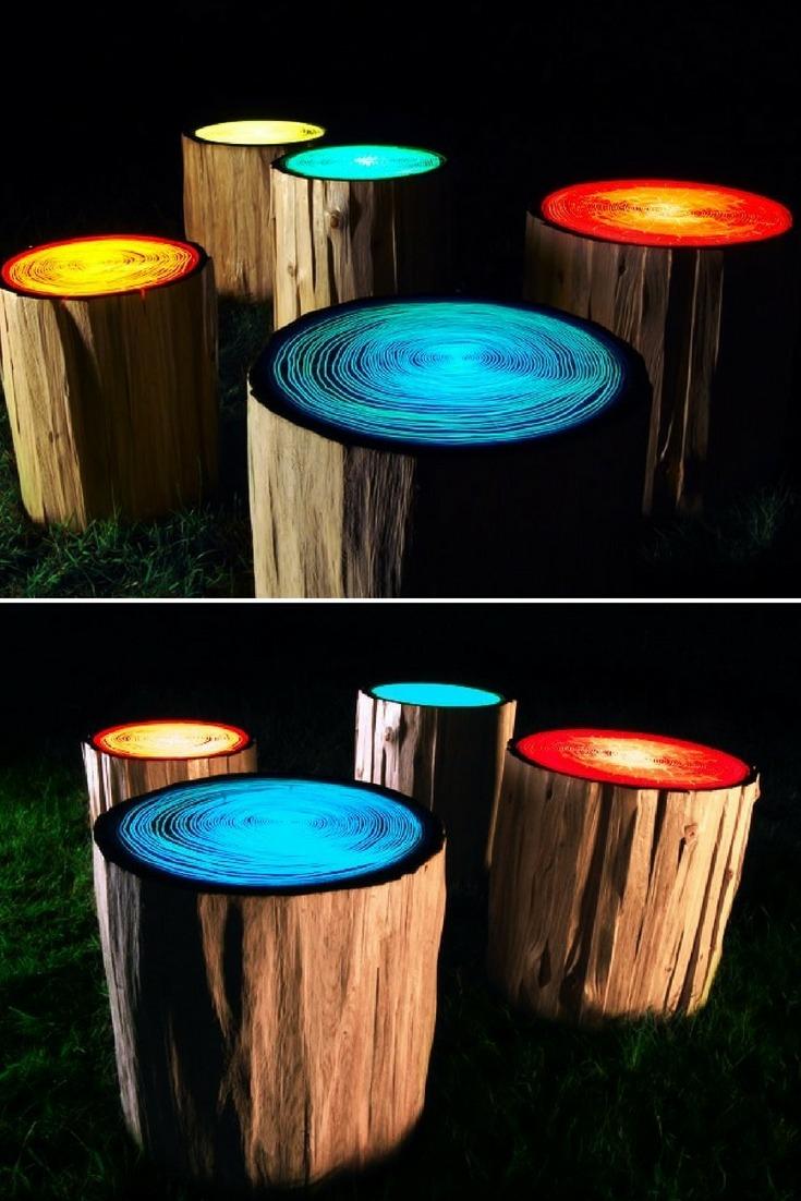 Tree Rings Outdoor Lighting - wood-lamps, outdoor-lighting