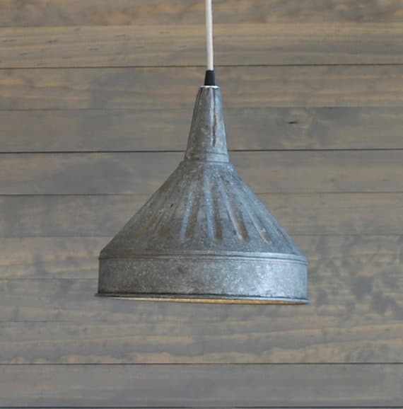 Modern Farmhouse Lighting with Galvanized Pendant Funnel - pendant-lighting