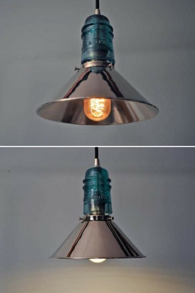 Vintage Glass Insulator with Chrome Shade Pendant Lighting