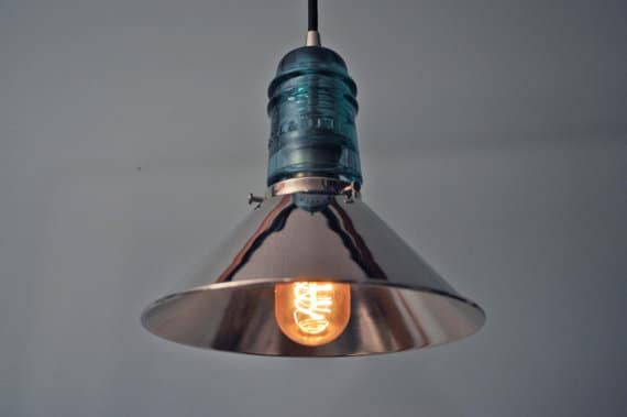 Vintage Glass Insulator with Chrome Shade Pendant Lighting Pendant Lighting