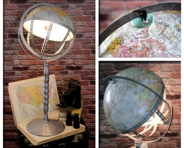 Vintage Steam Punk Industrial Re-purposed World Globe