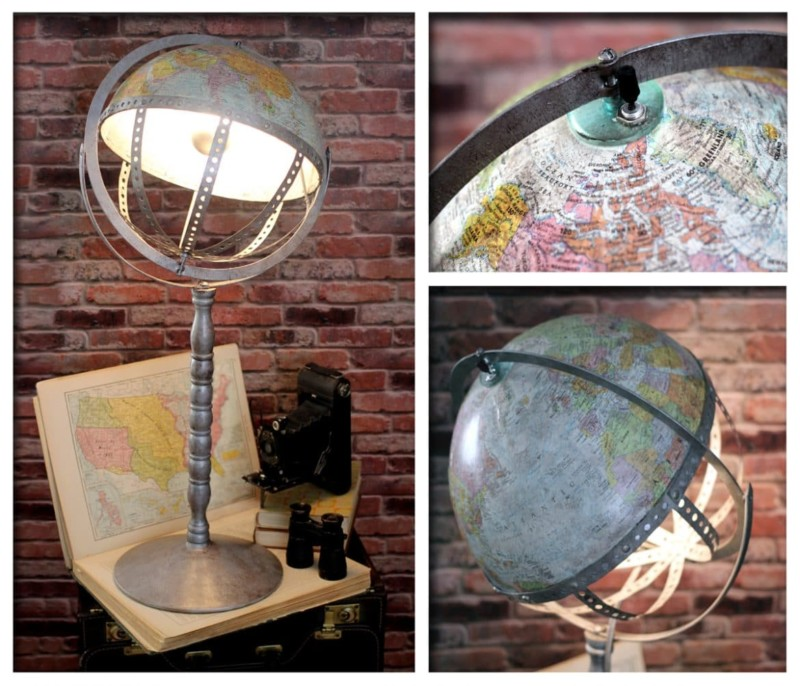 Vintage Steam Punk Industrial Globe Table Lamp Desk Lamps