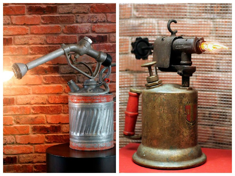 Rustic Vintage Gas Can & Blowtorch Table Lamp Desk Lamps