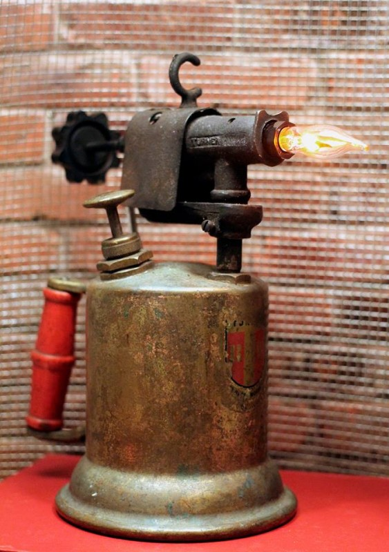 Rustic Vintage Gas Can Amp Blowtorch Table Lamp Id Lights