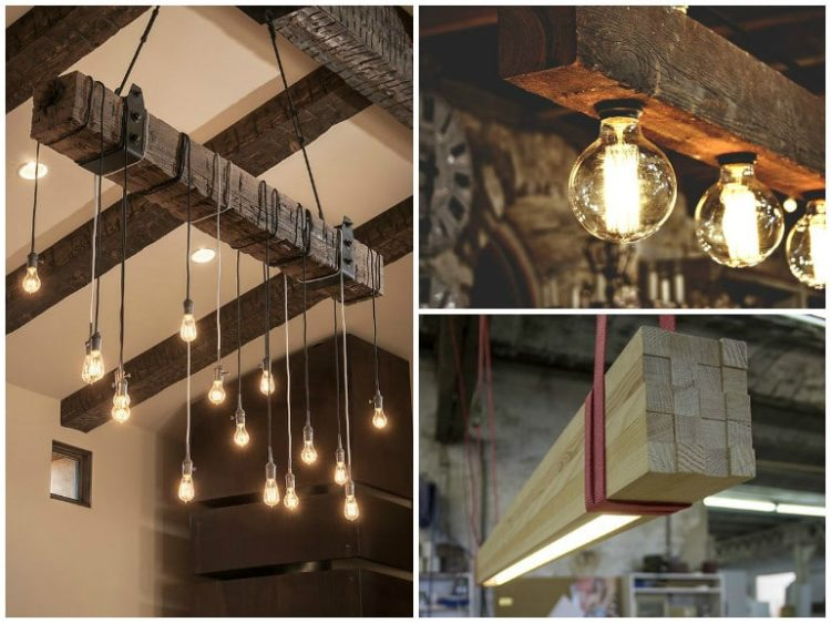 Reclaimed Wood Beams Best DIY - wood-lamps, restaurant-bar, chandeliers