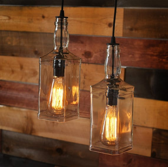 Rustic Pulley Pendant Light With Whiskey Bottles Id Lights