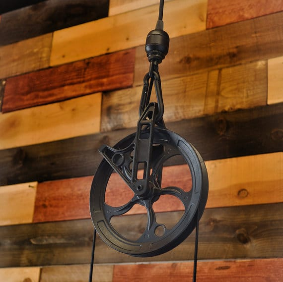 Rustic Pulley Pendant Light With Whiskey Bottles