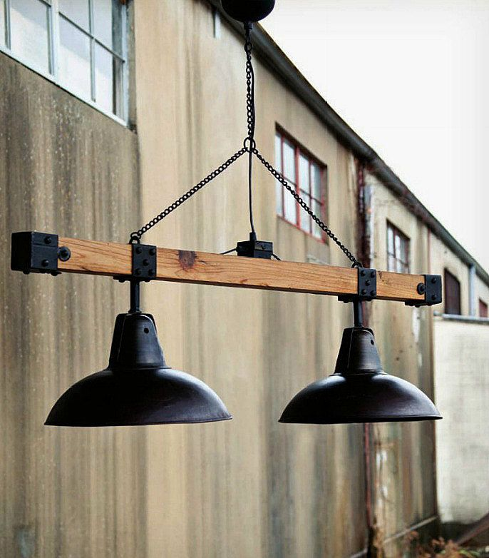 industrial style warehouse light beam pendant lighting wood lamps