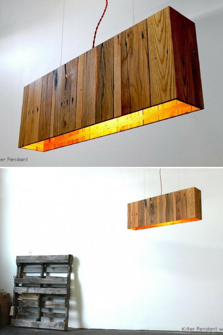 Kilter Pendant with Wood Oak Pallet - wood-lamps, pendant-lighting