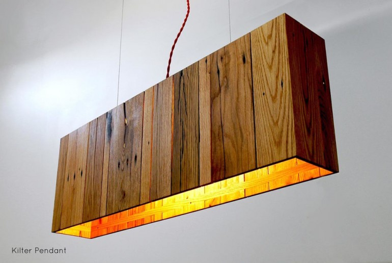 Kilter Pendant with Wood Oak Pallet - wood-lamps, pendant-lighting