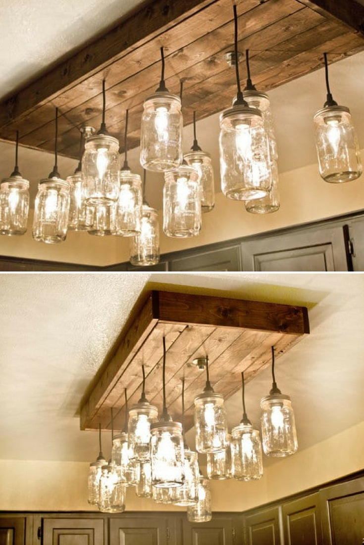 Mason Jar Wood Pallet Chandelier Id Lights