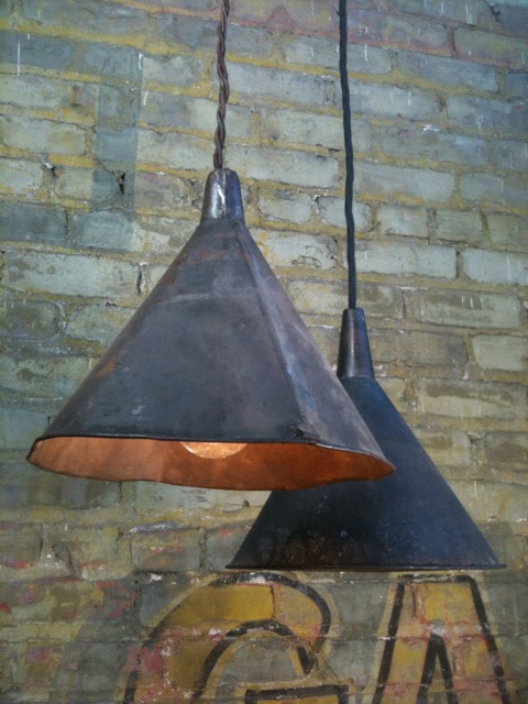 Antique Funnels Farmhouse Lighting - restaurant-bar, pendant-lighting