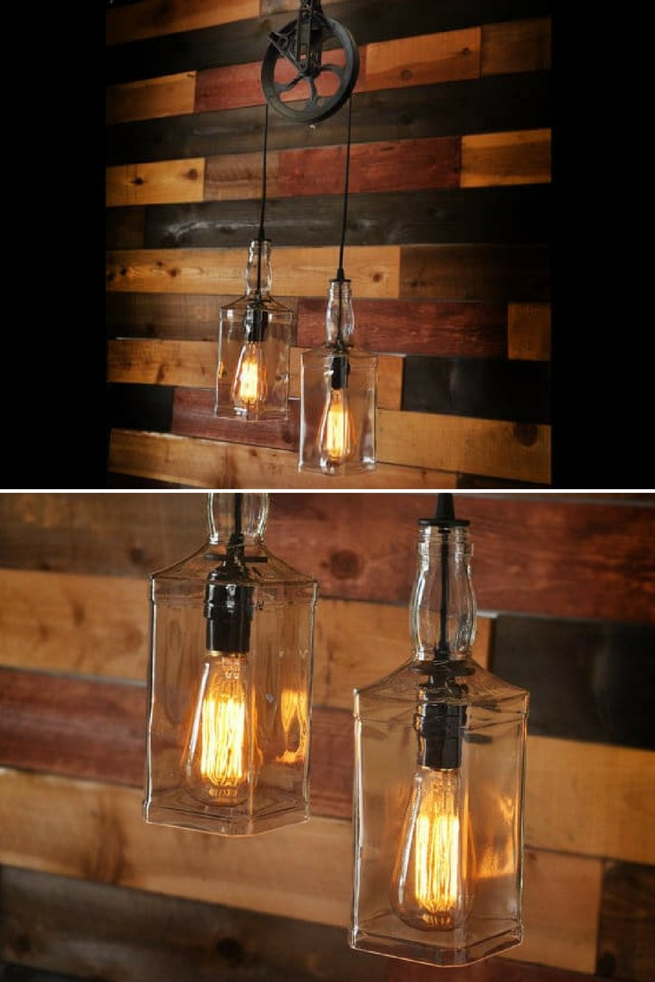 Rustic Pulley Pendant Light with Whiskey Bottles - pendant-lighting