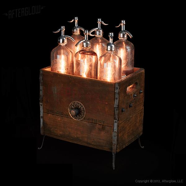 Seltzer Bottles Floor Lamp - wood-lamps, floor-lamps