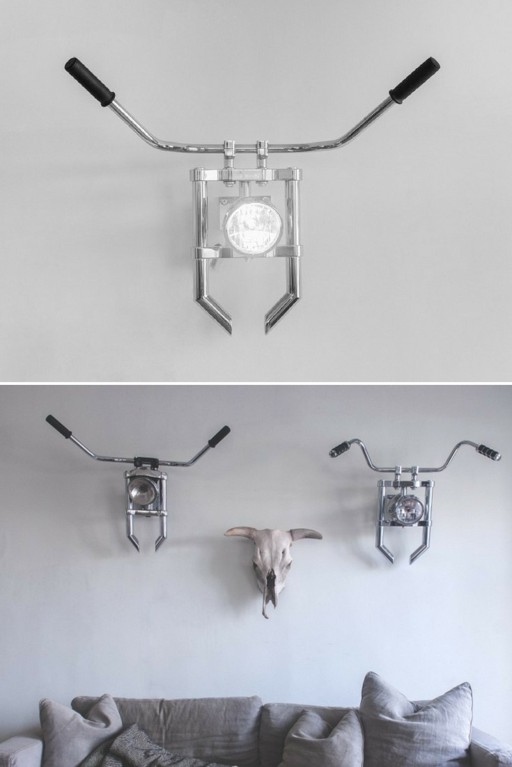 Motorcycle lovers you should check this Industrial Wall Sconce ! Animal trophy heads make impressive monuments and focal points to any room. They immediately convey a person's interests and lifestyle. They have grown extremely trendy in recent years and earned many different versions and references in the design and decoration world. #concept #industrial #lamp #led #lightfixture #lighting #lightingdesign #metallic #recycle #sconce