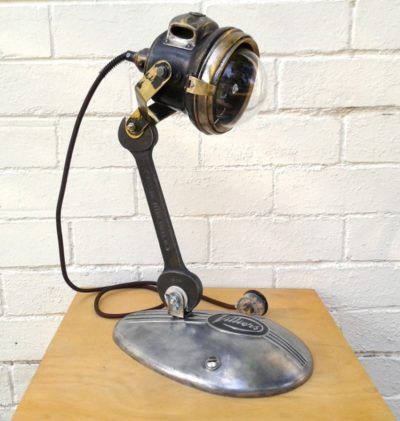 Upcycled lighting from vintage motorcycle