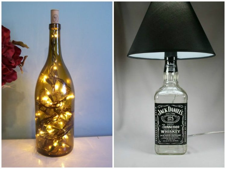 Diy bottle lamp make a table lamp with recycled bottles for Glass jar floor lamp