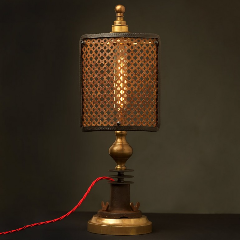Guard Shield Steampunk Industrial Table Lamp - table-lamps