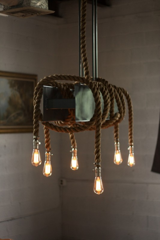 Metal & Rope Beam Rustic Industrial Chandelier - restaurant-bar, chandeliers