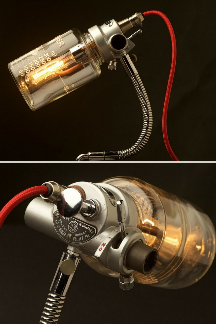 Really nice vintage ether anesthesia vaporizer lamp on Edison Light Globes. This one of a kind desk lamp is made from a rare vintage Anaesthesia Vaporiser built onto an original heavy cast base via a sprung gooseneck. Known as a 'Boyle Bottle', the apparatus was designed by leading English anesthetist Dr. Henry E. G. Boyle in 1917 as a 'sight feed' mechanism. #bottlelamp #concept #desklamp #edison #handmadelighting #lamp #led #lighting #lightingdesign #Pulley #recycle #steampunk #vin...