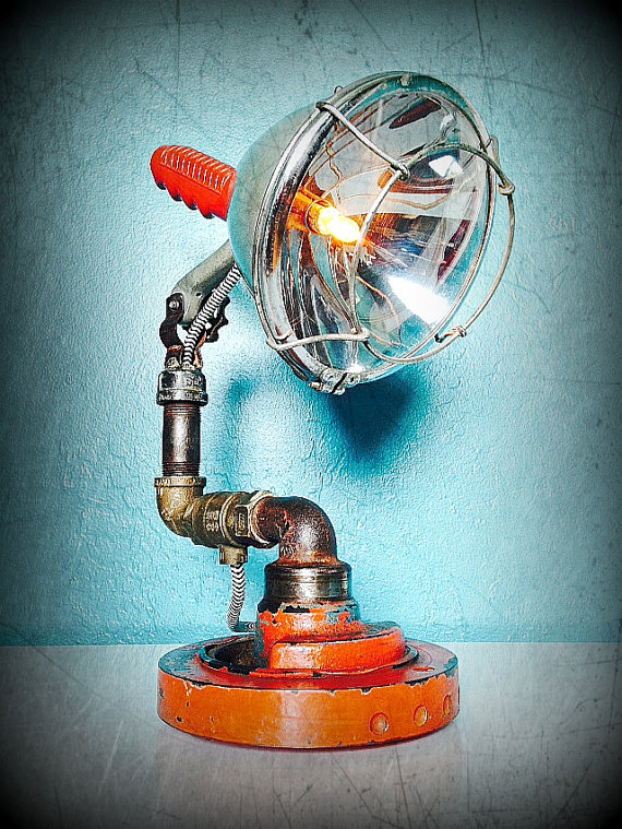 Piping Searchlight Rustic Vintage Lamp - desk-lamps