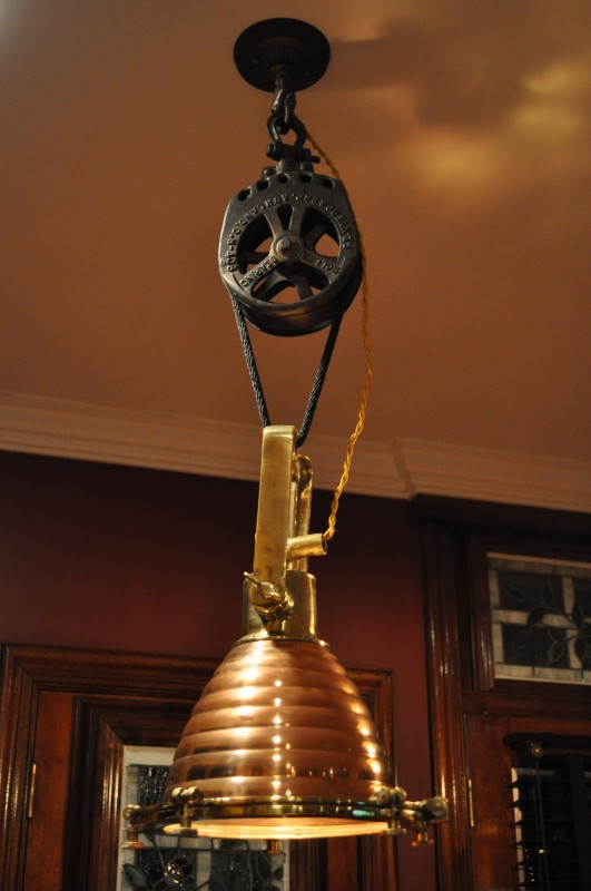 Farmhouse Copper Bearing Pulley Pendant Light - pendant-lighting