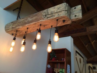 Custom Reclaimed barn beam light fixtures