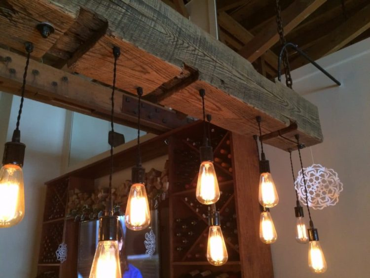 Rustic wood light fixture with reclaimed beam id lights for Bar fixtures